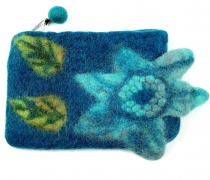 Wallet made of felt, felt wallet flower - turquoise
