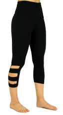 3/4 Psytrance Goa Damen Leggings, Festival Party Hose - schwarz