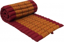 Rollable Thai mat with kapok filling red-gold