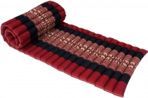 Rollable Thai mat with kapok filling black-red