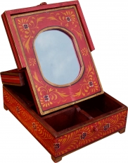 Mirror box make-up mirror - red