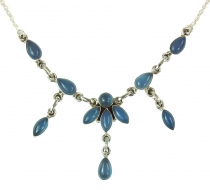 Silver chain with semi-precious stones Calcedon blue