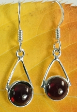 Indian Silver Earrings, Ethno Earrings, Boho Earrings - Garnet