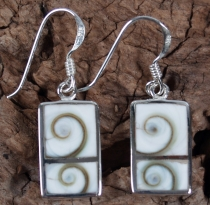 Silver earrings with `Shiva shell` - 6