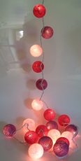 Stoff Ball Lichterkette LED Kugel Lampion Lichterkette - bordeaux..