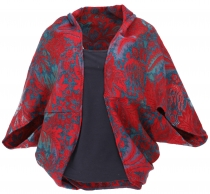 Cocoon Cardigan, open jacket in oversized form - red/blue