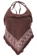 Goa top, psytrance, printed bandeau top - brown
