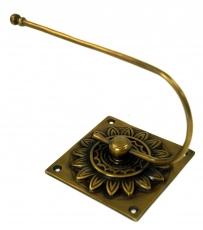 Toilet paper holder with ornaments, brass