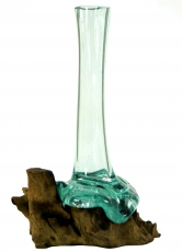 Vase made of recycled glass, glass vase burl wood