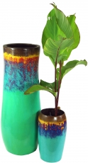 Vase, planter, planter made of palm wood