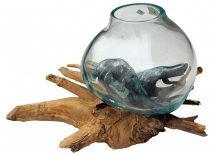 Wurzelholz Vase XS - glass diameter up to 10 cm