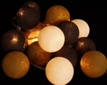 Stoff Ball Lichterkette LED Kugel Lampion Lichterkette - schokobr..