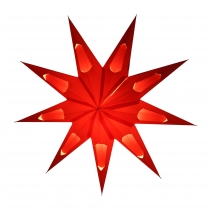 Foldable Advent light paper star, poinsettia 40 cm - Aquarius red