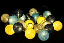 Stoff Ball Lichterkette LED Kugel Lampion Lichterkette - grau/bla..