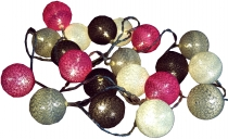 Stoff Ball Lichterkette LED Kugel Lampion Lichterkette - grau/bra..