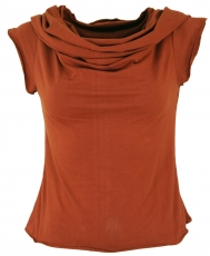 Yogatop, Psytrance Festival Top with shawl hood - rusty orange