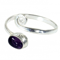 Brass toe ring, Goaschmuck with Amethyst silver plated - Design 1