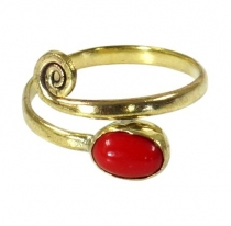 Brass toe ring, goa jewellery with coral imitation - gold