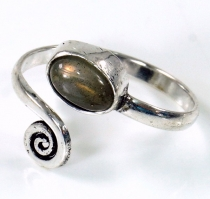 Brass toe ring, silver plated goat jewellery labradorite - Design..