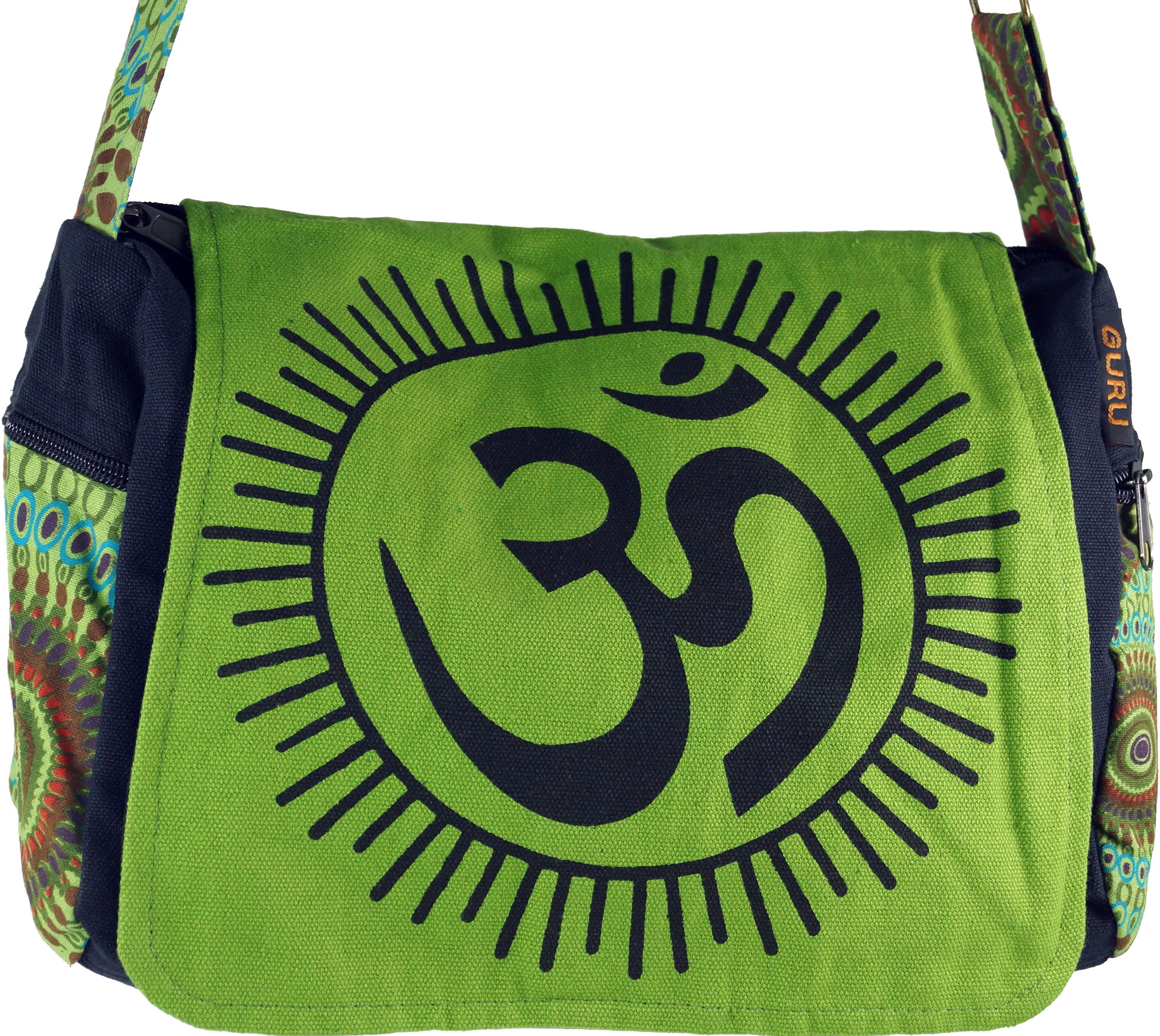 Shoulder Bag, Hippie Bag, Goa Bag Om green 23x28x12 cm