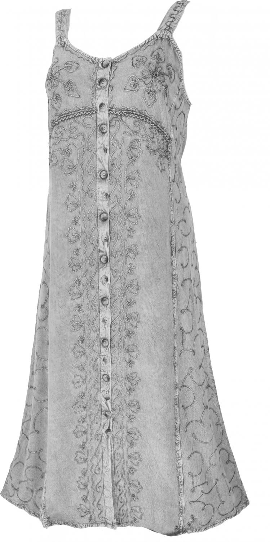 Embroidered Boho summer dress, Indian hippie strap dress   grey/Design 21
